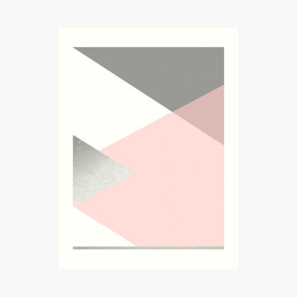 Geometrics - grey blush silver Art Print
