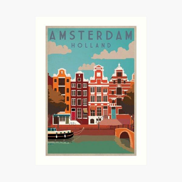Amsterdam, Holland, Travel Poster Art Print