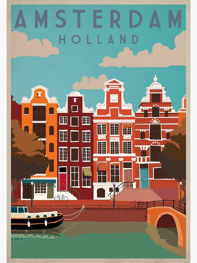 Amsterdam, Holland, Travel Poster by BokeeLee
