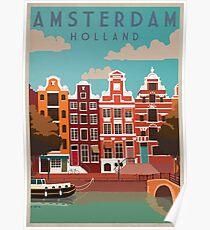 Amsterdam, Holland, Reiseplakat Poster