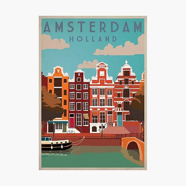 Amsterdam, Holland, Travel Poster Photographic Print