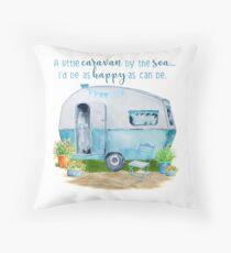 A little caravan by the sea Throw Pillow