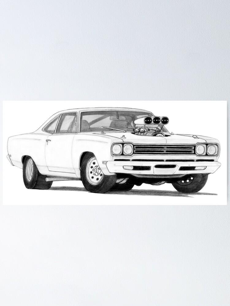 1969 Dodge Charger Photo Classic Cars Print Mopar Vintage Vehicle Poster