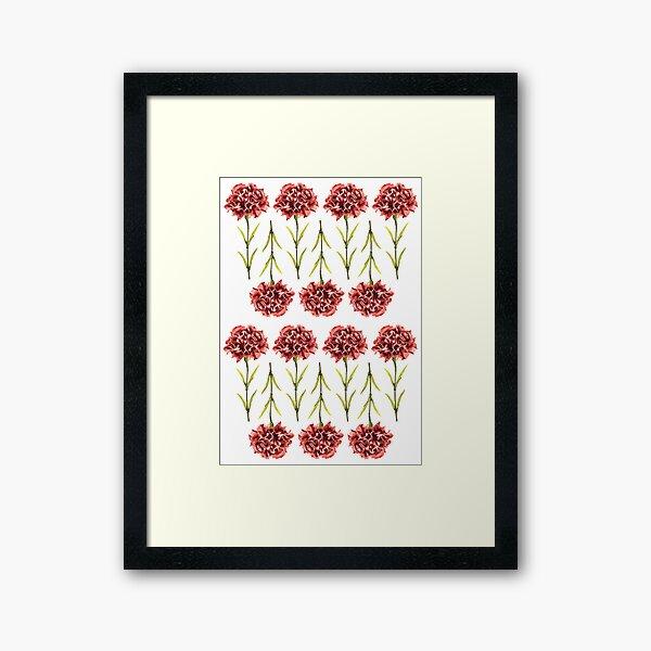 Watercolor Pink Carnation Flower Framed Art Print
