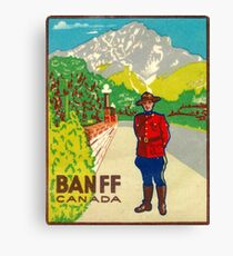 Banff Mountie National Park Vintage Travel Decal Canvas Print