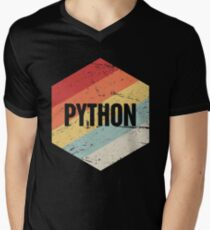 Retro Python Programming Language Icon Men's V-Neck T-Shirt
