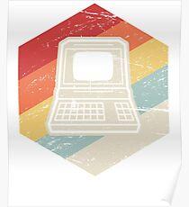 Vintage Retro Computer Icon   Computer Nerd Design Poster