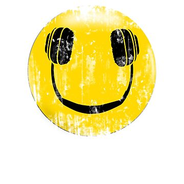 Smiley Face With Headphones Funny Music Emoticon by theshirtslinger