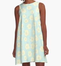 Graphic Fluffy Yellow Flowers on Blue A-Line Dress