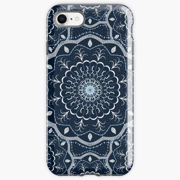 Black White Blue Mandala iPhone Tough Case