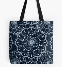 Black White Blue Mandala Tote Bag