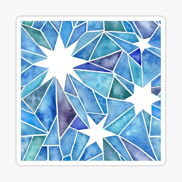Star Geometric Crystal Watercolor Painting in Vibrant Blues and Green Sticker