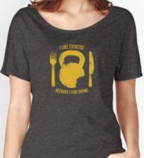 Ich mag Übung, weil ich esse Baggyfit T-Shirt
