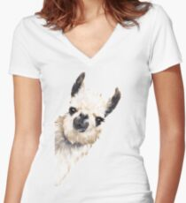 Sneaky Llama Women's Fitted V-Neck T-Shirt