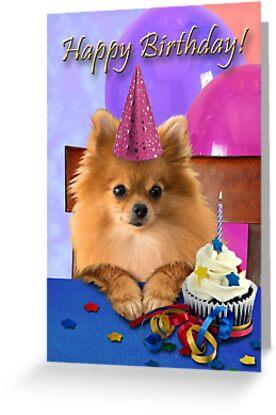 Birthday Pomeranian Greeting Cards By Jkartlife Redbubble