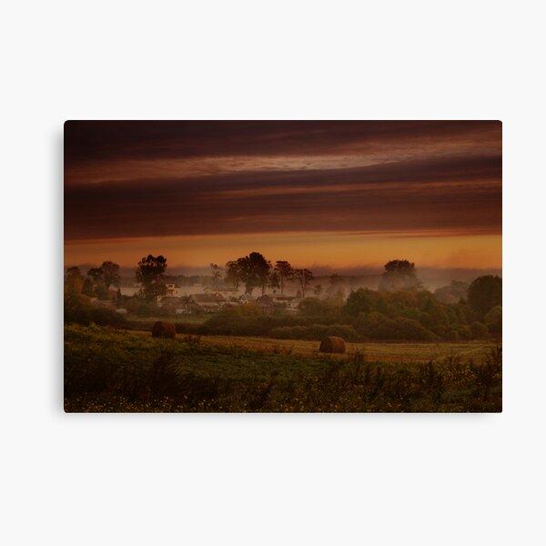 Fog in village Canvas Print