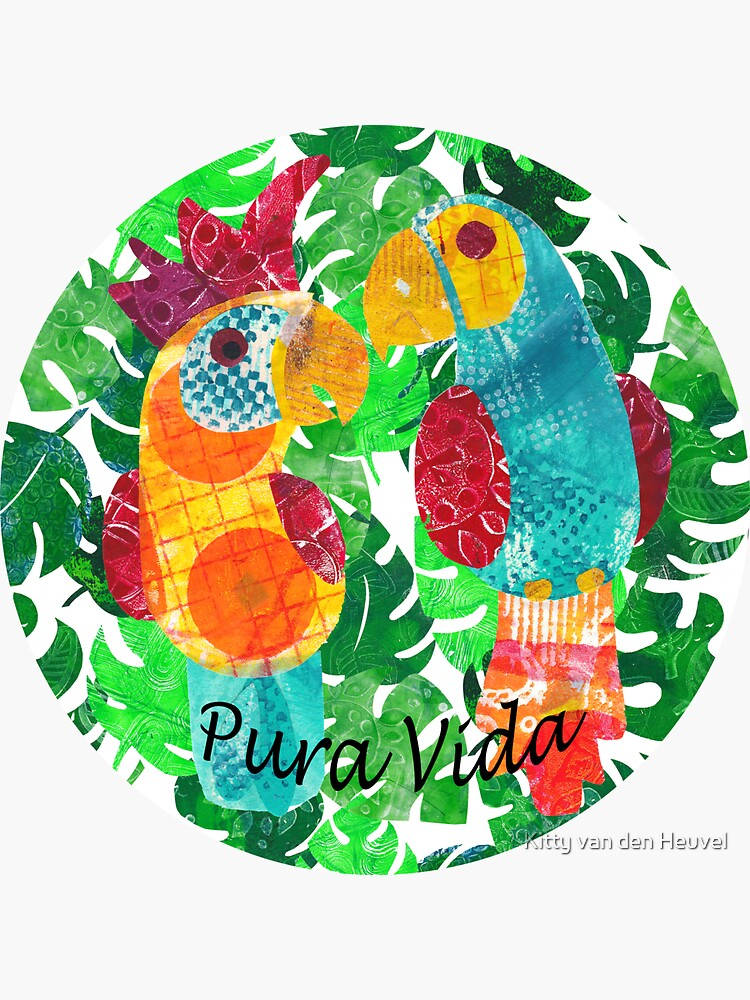 Pura vida - colorful parrot and cockatoo by kittyvdheuvel