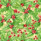 Holly berry watercolor Christmas pattern by katerinamk