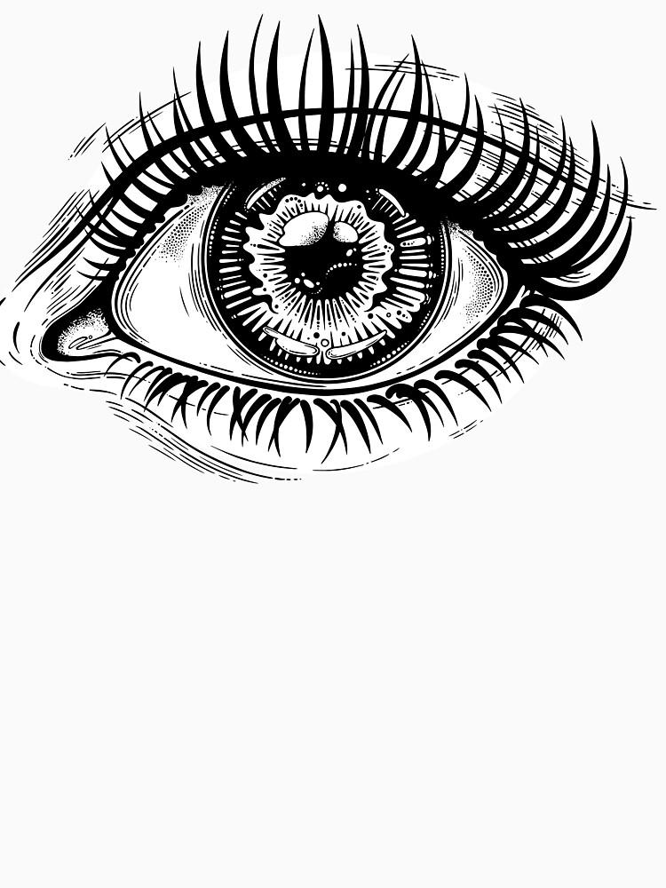 Beautiful realistic eye with highly detailed pupil, iris and long dramatic eyelashes. by KatjaGerasimova