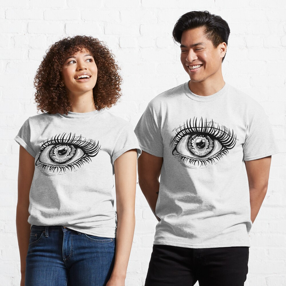 Beautiful realistic eye with highly detailed pupil, iris and long dramatic eyelashes. Classic T-Shirt