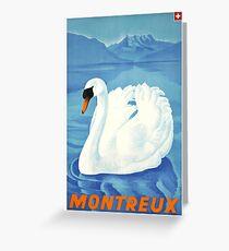 1943 Montreaux Switzerland Travel Poster Greeting Card