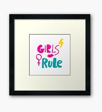 Girls rule. Hand drawn lettering with pink lipstick kiss, lightning and female gender sign mirror of Venus. Framed Print