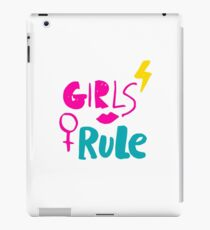 Girls rule. Hand drawn lettering with pink lipstick kiss, lightning and female gender sign mirror of Venus. iPad Case/Skin