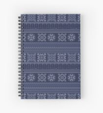 Knitted blue christmas pattern Spiral Notebook