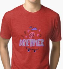 Dreamer. Hand drawn lettering with ice cream, hearts, clouds and skateboard Tri-blend T-Shirt