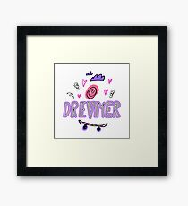 Dreamer. Hand drawn lettering with ice cream, hearts, clouds and skateboard Framed Print