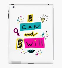 I can and I will. Hand drawn lettering with cartoon gemstone, lipstick kiss, stars and female gender sign mirror of Venus. iPad Case/Skin