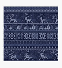 Knitted blue christmas pattern Photographic Print