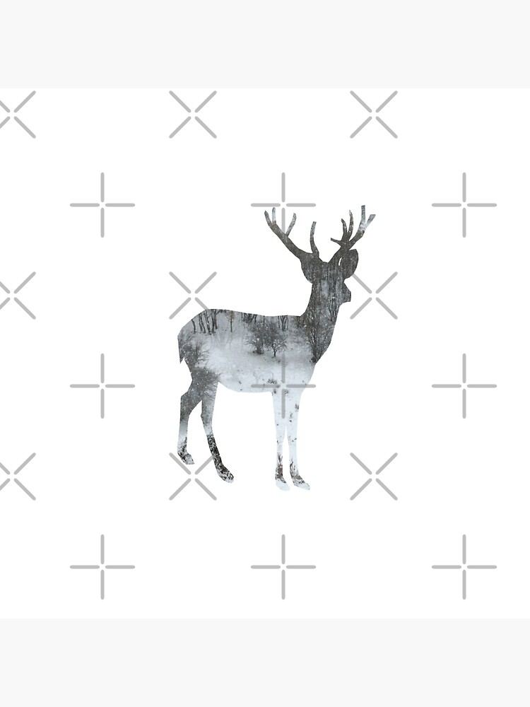 WINTER SERIES Snowing Reindeer On White by by-jwp