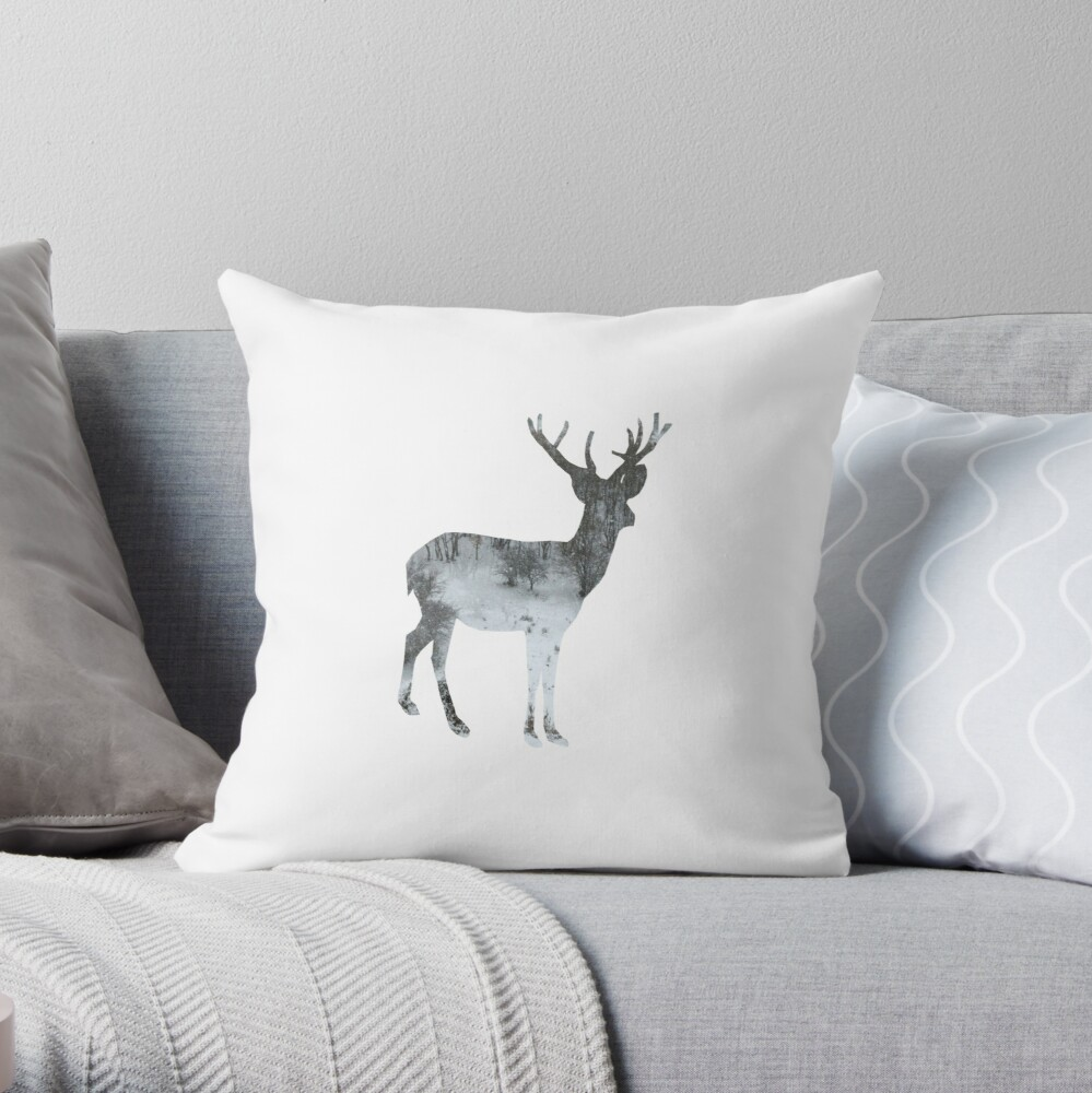 WINTER SERIES Snowing Reindeer On White Throw Pillow