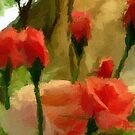 A digital oil painting of Roses in Our Garden by Dennis Melling