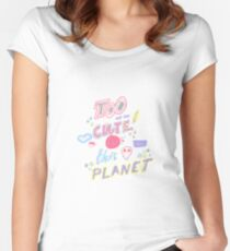 Too cute for this planet. Hand drawn lettering with with alien face, eyelashes, lipstick kiss and stars. Women's Fitted Scoop T-Shirt