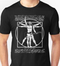 Camiseta unisex HOMBRE VITRUVIEO JUGANDO LA GUITARRA - GUITARRISTA DA VINCI - LEONARDO DA VINCI PARODY
