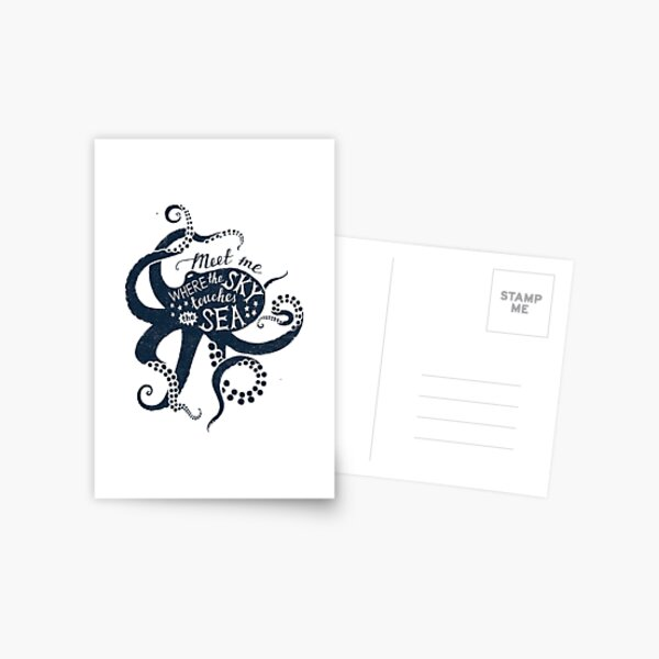 Meet Me Where the Sky Touches the Sea Octopus Postcard