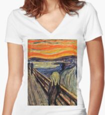 the edward munch shout Women's Fitted V-Neck T-Shirt