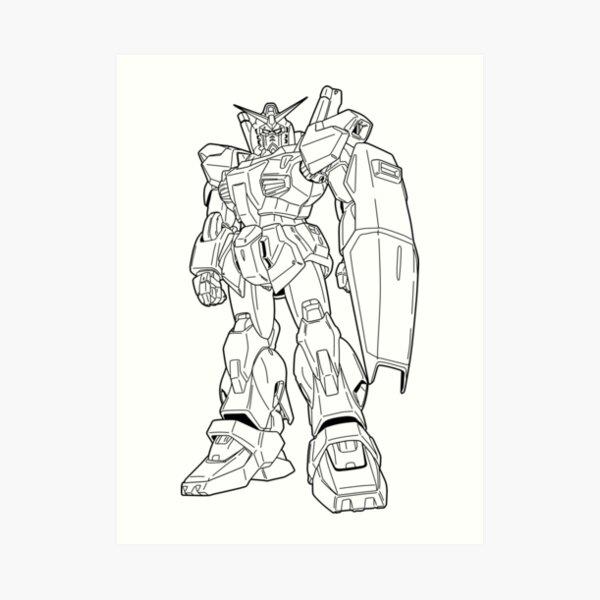 RX-178 Gundam Mk-II Outline Black Art Print