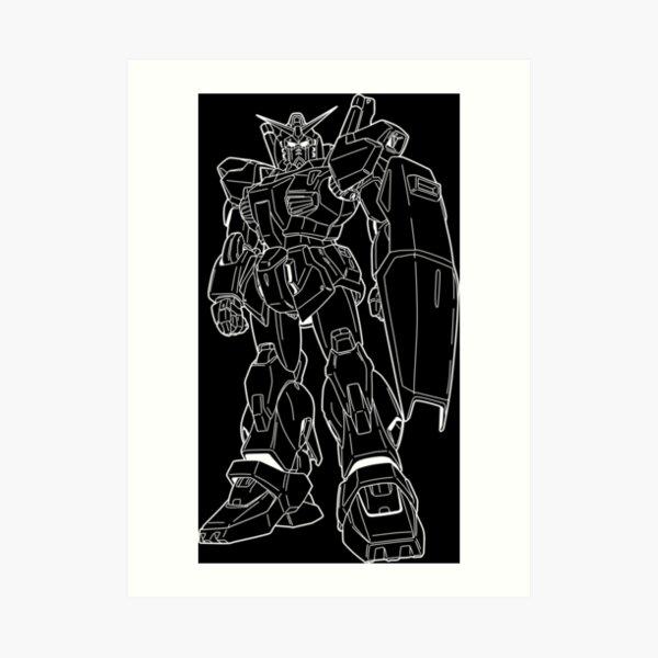 RX-178 Gundam Mk-II Outline White Art Print