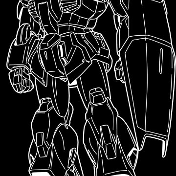 RX-178 Gundam Mk-II Outline White by MossLoves