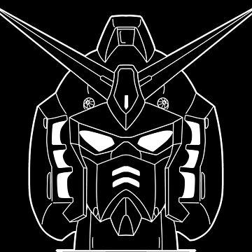 RX-178 Gundam Mk-II Head Outline White by MossLoves