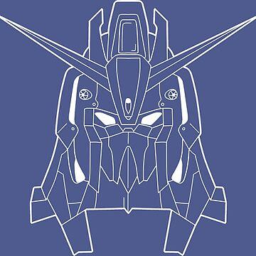 Z Gundam Head Outline White by MossLoves