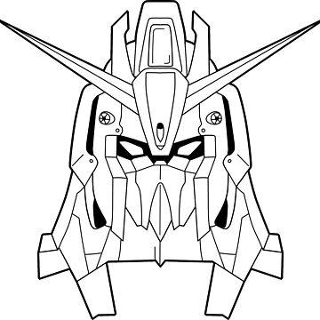 Z Gundam Head Outline Black by MossLoves