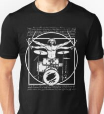 DA VINCI DRUMMER - VITRUVIAN MAN PLAYING THE DRUMS - LEONARDO DA VINCI VITRUVIAN MAN PARODY FOR DRUMMERS Slim Fit T-Shirt