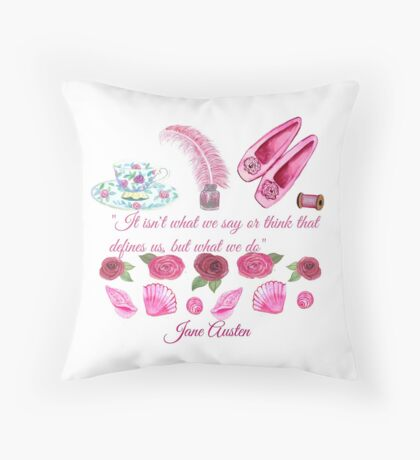 Jane Austen quote and shoes, pen and teacup  Throw Pillow