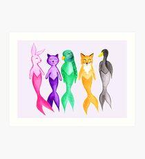 MER-riness - Mermaid Animals - Purple Art Print