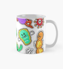 Funny Characters Bacteria and Microbes Set for Stickers, Badges, Patches. Vector doodle Mug