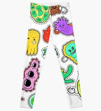 Funny Characters Bacteria and Microbes Set for Stickers, Badges, Patches. Vector doodle Leggings